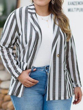 Ericdress Long Sleeve Plaid Mid-Length Plus Size Casual Blazer