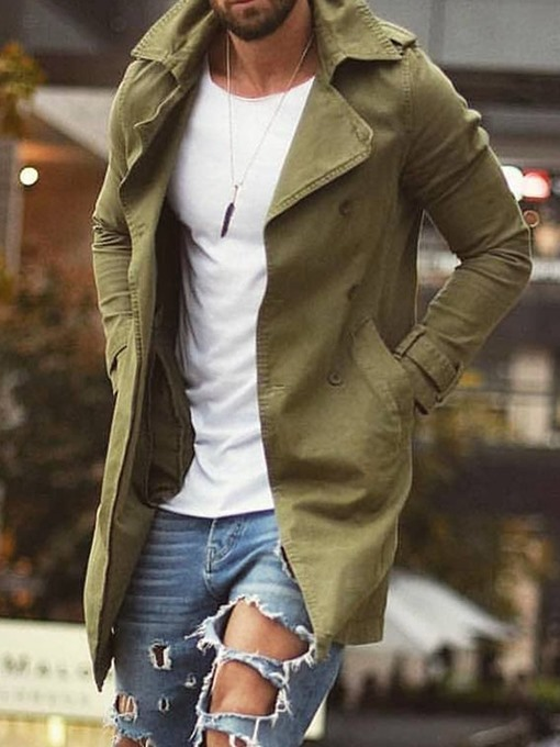 Ericdress Mid-Length Plain Pocket Loose Men's Trench Coat