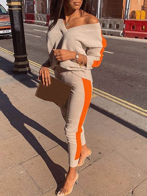 Ericdress T-Shirt Color Block Straight Slim Two Piece Sets