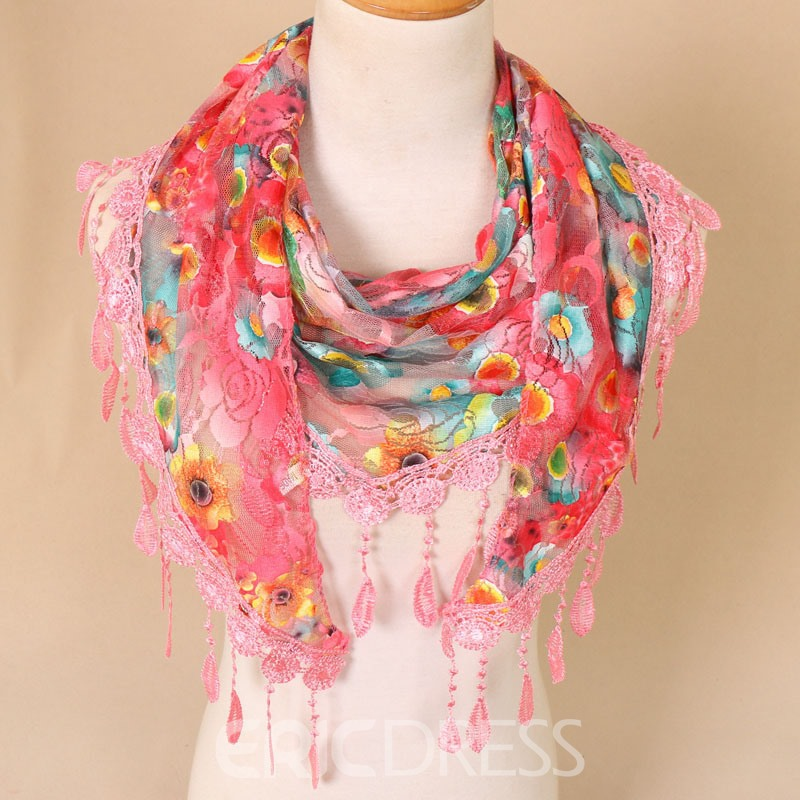 Ericdress Hollow Lace Floral Scarves