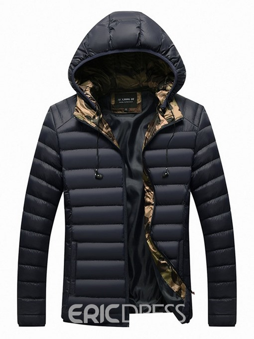 Ericdress Standard Hooded Patchwork European Zipper Men's Down Jacket