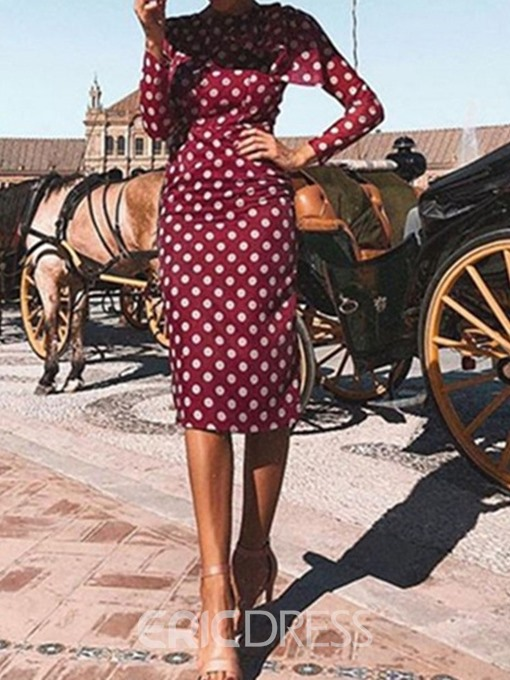 Ericdress Round Neck Print Nine Points Sleeve Sweet Pullover Dress