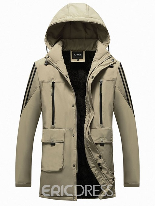 Ericdress Hooded Color Block Mid-Length Zipper European Men's Down Jacket