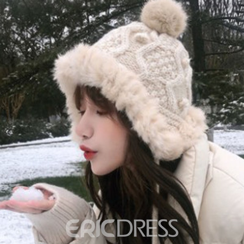 Ericdress Plain Pompon Woolen Yarn Women's Knitted Hats