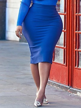 Ericdress Plus Size Plain Bodycon Mid-Calf High Waist Skirt
