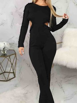 Ericdress Plain Full Length Backless Slim Bellbottoms Jumpsuit
