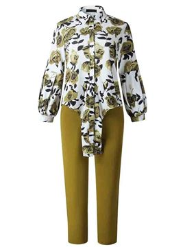 Ericdress Plus Size Print Plain Shirt Lapel Two Piece Sets