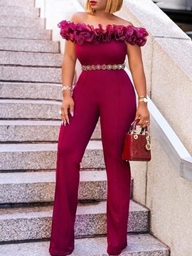 Ericdress Off Shoulder Plain Falbala Full Length High Waist Slim Jumpsuit