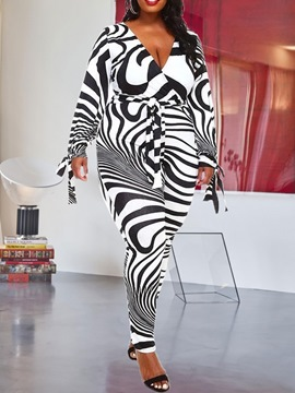 Ericdress Plus Size Print Zebra Stripe Full Length Slim High Waist Jumpsuit