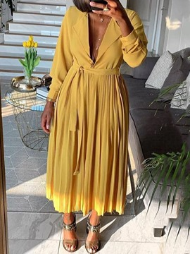 Ericdress Notched Lapel Nine Points Sleeve Pleated Pleated Casual Dress
