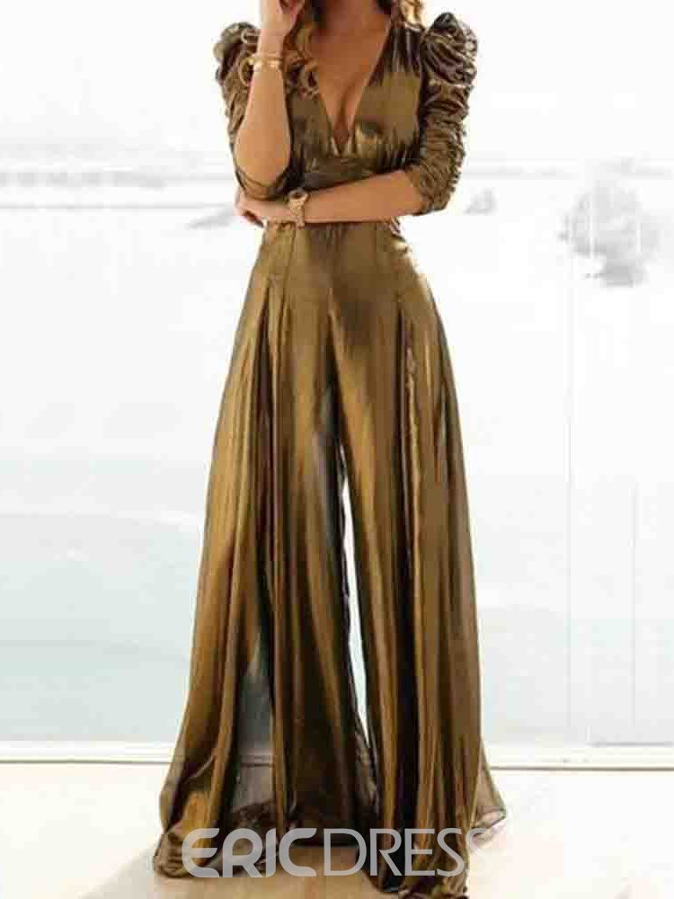 Ericdress Plain Sexy Full Length Wide Legs Loose Jumpsuit