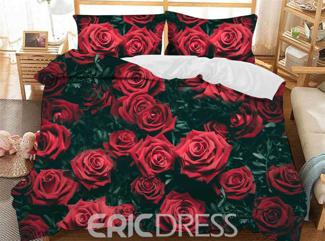 Roses Polyester Hand Wash Three-Piece Set Duvet Cover Set Reactive Printing