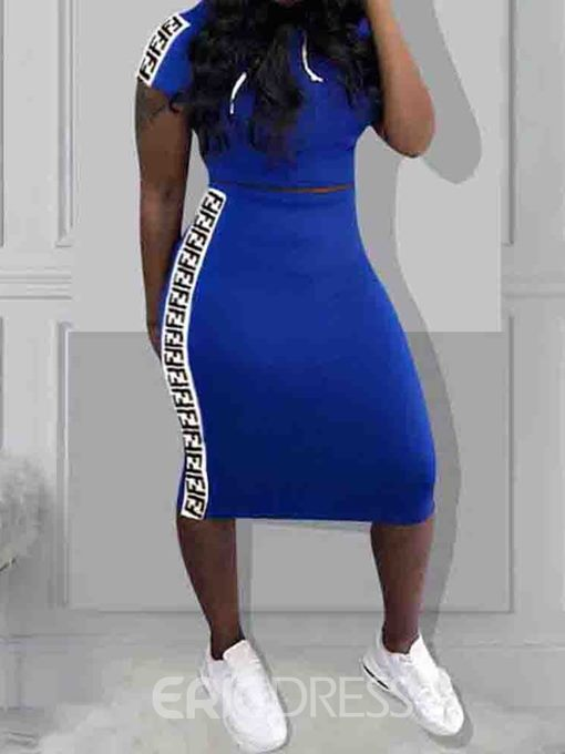 Ericdress Letter Casual Bodycon Pullover Two Piece Sets