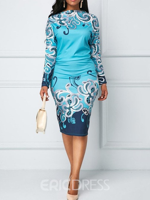 Ericdress Long Sleeve Print Mid-Calf Mid Waist Bodycon Dress
