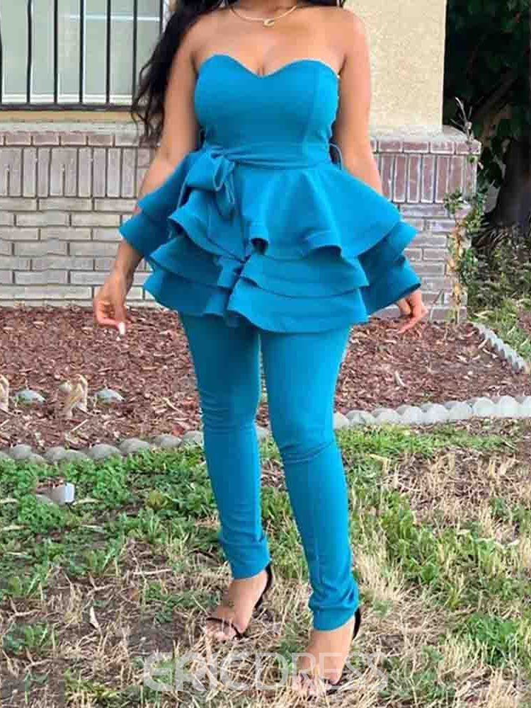 Ericdress Off Shoulder Plain Shirt Pullover Two Piece Sets