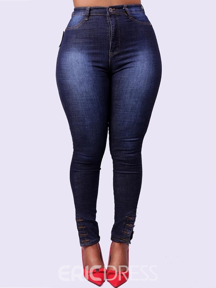 Ericdress Plain Zipper Slim Jeans