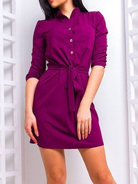 Ericdress Stand Collar Above Knee Three-Quarter Sleeve Plain Regular Dress