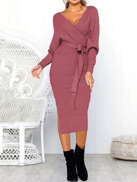Ericdress Lace-Up V-Neck Long Sleeve Winter Mid Waist Dress