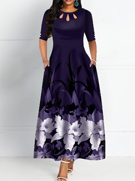 Ericdress Print Half Sleeve Ankle-Length Floral Standard-Waist Dress