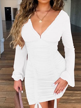 Ericdress Bowknot V-Neck Long Sleeve Plain Bodycon Dress