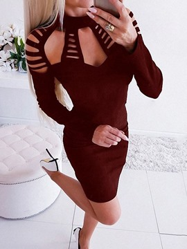 Ericdress Long Sleeve Above Knee Hollow Bodycon Dress