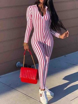 Ericdress Ankle Length Color Block Stripe Skinny Jumpsuit