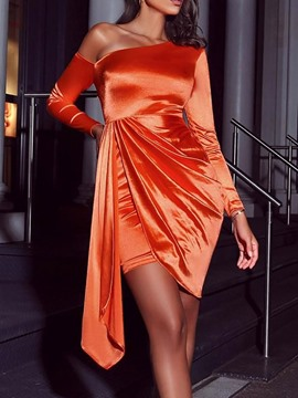 Ericdress Oblique Collar Long Sleeve Asymmetric Plain Bodycon Dress