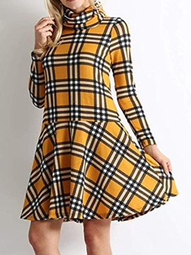 Ericdress Above Knee Heap Collar Print Low Waist Casual Dress