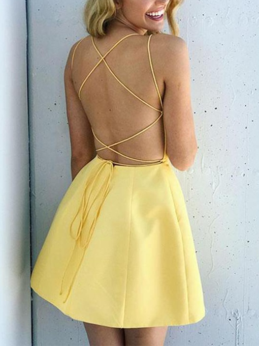 Ericdress Criss Cross Straps Daffodil Cocktail Dress 2019