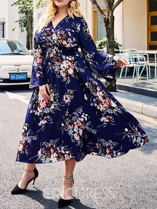 Ericdress Long Sleeve Mid-Calf V-Neck Floral Pullover Dress