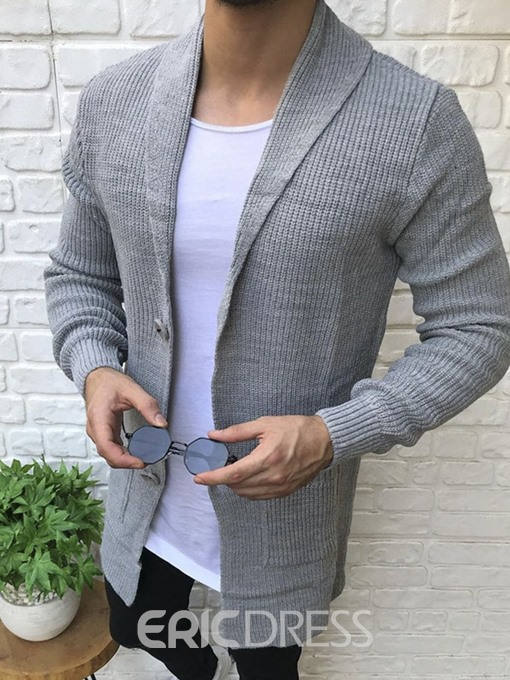 Ericdress Button Mid-Length Plain Single-Breasted Men's Sweater