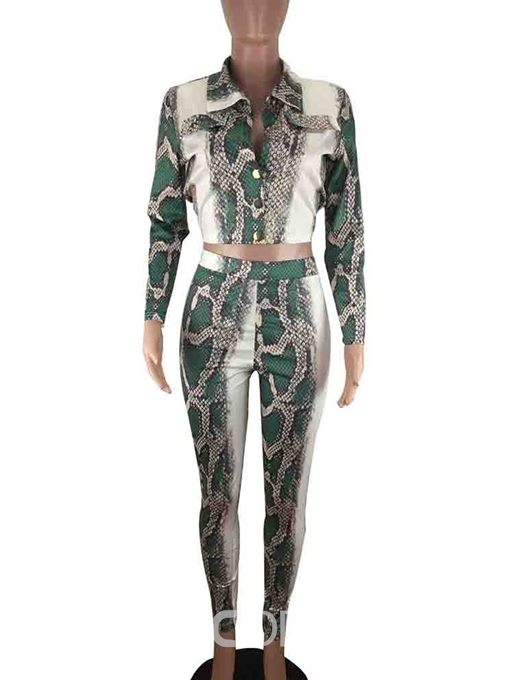 Ericdress Print Serpentine Sexy Single-Breasted Two Piece Sets