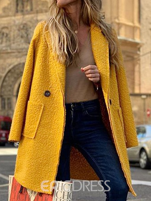 Ericdress Single-Breasted Button Loose Long Lapel Overcoat