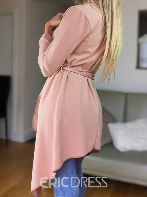 Ericdress Single-Breasted Lapel Mid-Length Nine Points Sleeve Office Lady Trench Coat