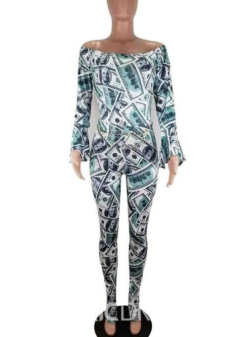 Ericdress Print Full Length Sexy Slim Jumpsuit