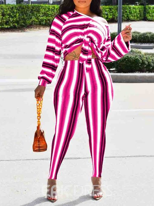 Ericdress Stripe Color Block T-Shirt Pullover Two Piece Sets