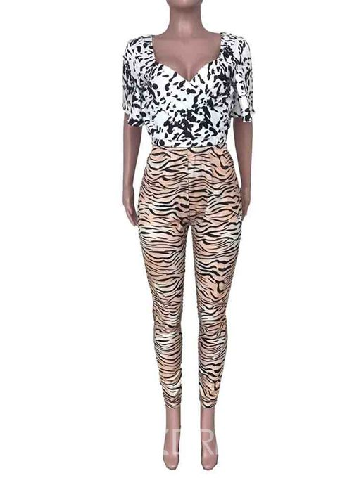 Ericdress Print T-Shirt Pullover Two Piece Sets