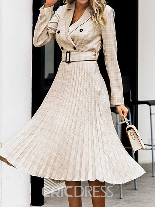 Ericdress Notched Lapel Long Sleeve Mid-Calf Expansion Fashion Dress