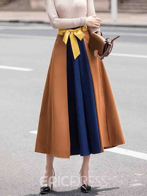 Ericdress Color Block Pleated Mid-Calf Patchwork Casual Skirt