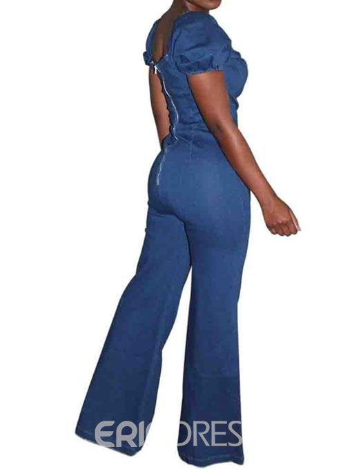 Ericdress Plain Full Length Sweet Loose Wide Legs Jumpsuit