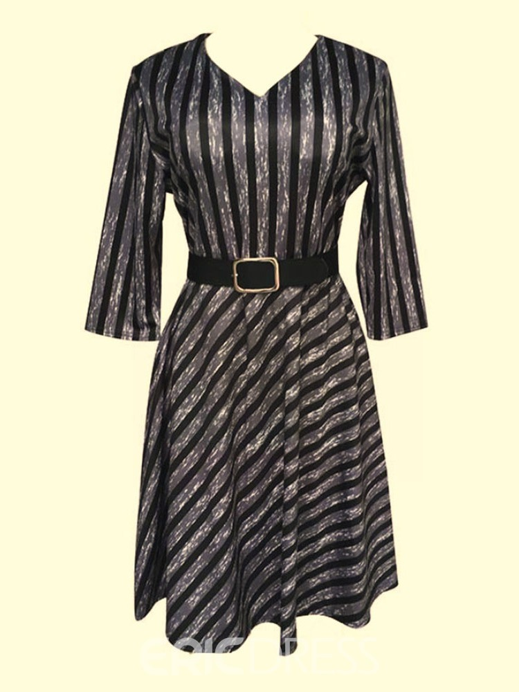 ericdress col v manches trois-quarts mollet automne robe grande taille