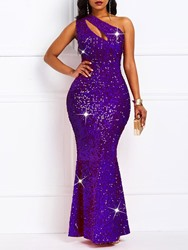 Ericdress Sequins Oblique Collar Floor-Length One-Shoulder Standard-Waist Dress фото