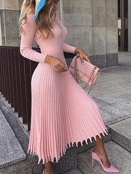 Ericdress Pleated Mid-Calf Nine Points Sleeve Standard-Waist Pullover Dress фото