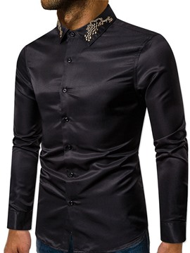 Ericdress Button Color Block Lapel Single-Breasted Men's Shirt