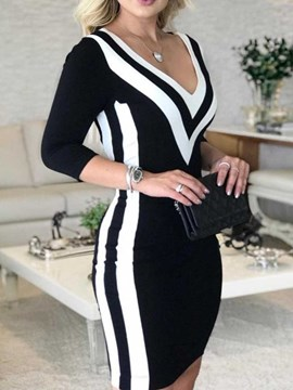 Ericdress V-Neck Three-Quarter Sleeve Print Fall Mid Waist Dress