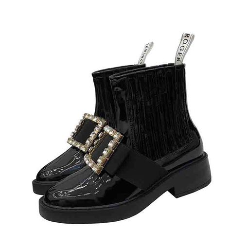 Ericdress Plain Rhinestone Slip-On Round Toe Women's Flat Boots