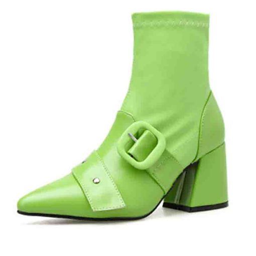 Ericdress Pointed Toe Plain Chunky Heel Zipper Women's Ankle Boots