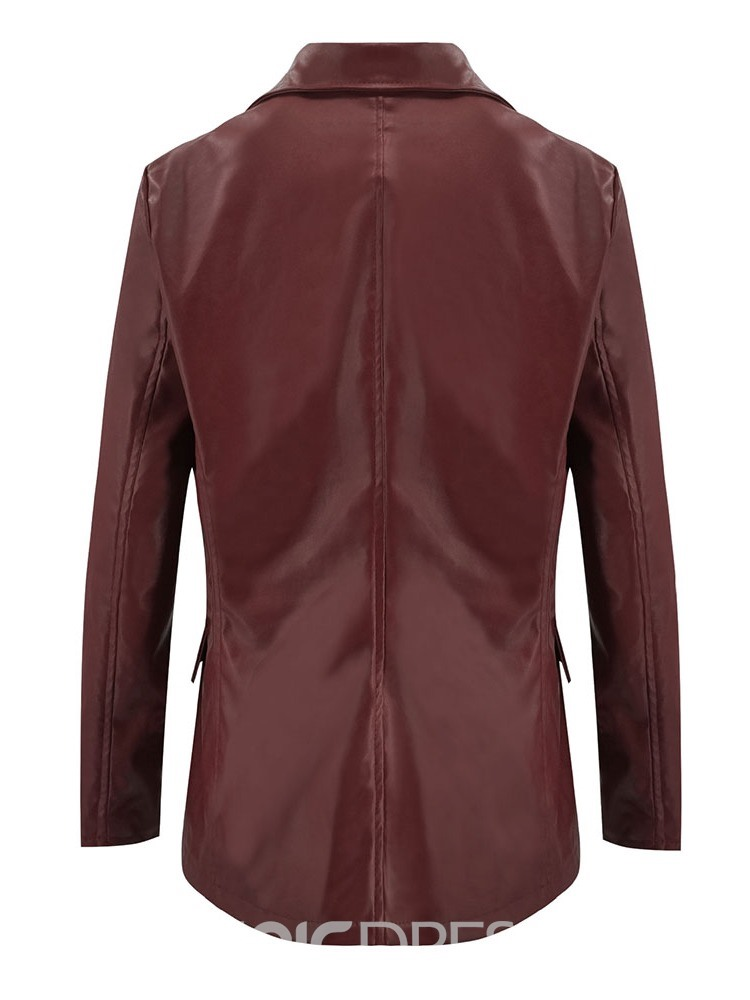 Ericdress Loose Double-Breasted Mid-Length PU Jacket
