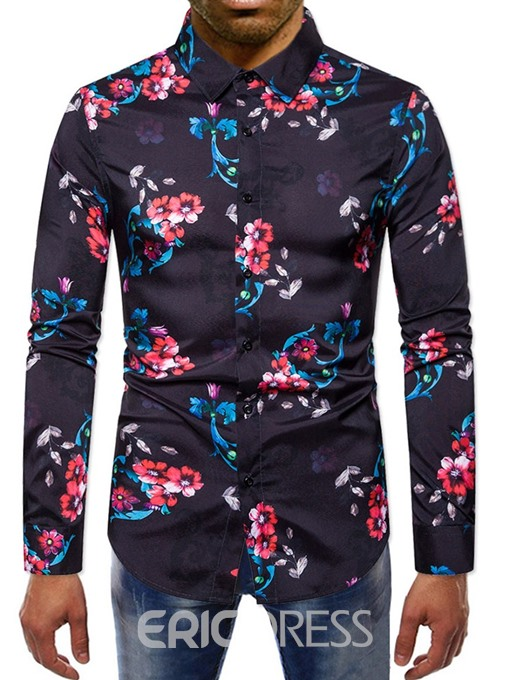 Ericdress Lapel Print Single-Breasted Men's Shirt
