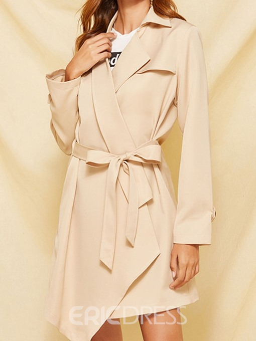 Ericdress Lace-Up Lapel Lace-Up Long Sleeve Loose Trench Coat